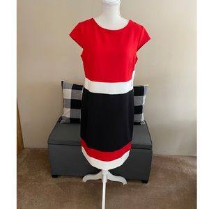 NWT Sandra Darren Red White and Black Dress